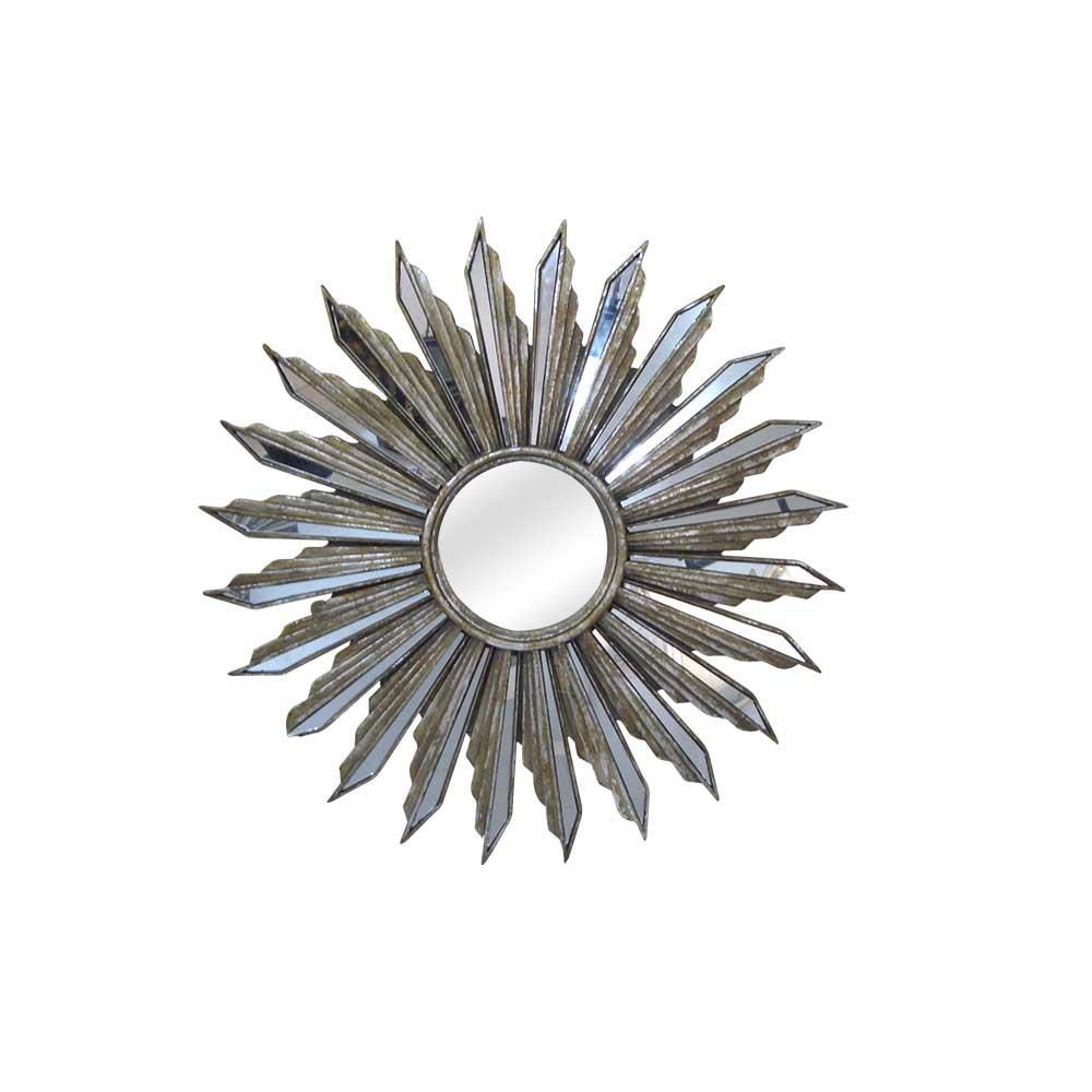 Espejos redondos en forma de sol lovetendencias for Espejo redondo plateado